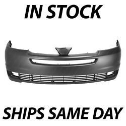 Primered Front Bumper Cover Fascia Replacement For 2004 2005 Toyota Sienna Van
