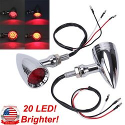 2 Universal Motorcycle Turn Signal 20LED Blinker Indicator Red Lights For Harley