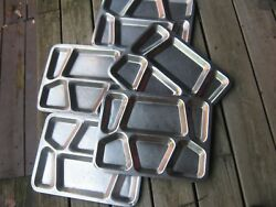 5 Pcs Vintage Compartment Food Serving Tray Stainless Metal Lunch Dinner Plate