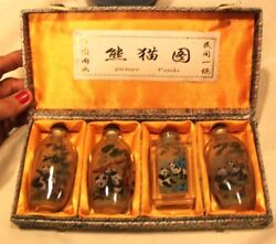 4 Chinese Glass Snuff Bottle Painted Pandas In Silk Box From China      D
