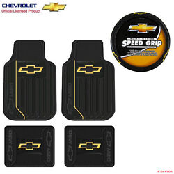 New 5pcs Chevy Elite Logo Car Truck Front Rear Floor Mats And Steering Wheel Cover