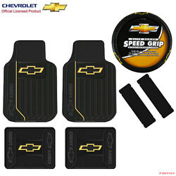 New 7pcs Chevy Elite Logo Car Truck Front Rear Floor Mats And Steering Wheel Cover