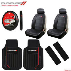 New 7pc Dodge Elite Car Truck Front Seat Covers Floor Mats Steering Wheel Cover