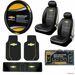 9pcs Chevy Elite Style Car Truck Seat Covers Steering Wheel Cover Floor Mats