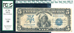 1899 5 Silver Certificate-fr 281 Pcgs 10 Very Good-indian Cheif