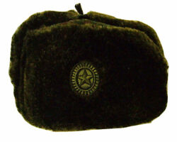 Authentic Russian Camouflage Military Ushanka Hat W/ Embroidered Military Emblem