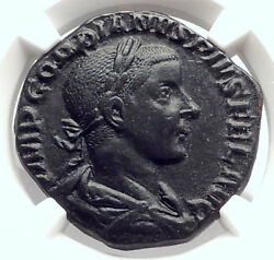 Gordian Iii Authentic Ancient 241ad Sestertius Roman Coin Laetitia Ngc I73338