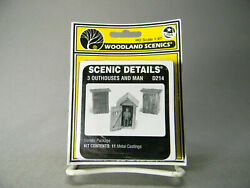 Woodland Scenics Ho Scale 3 Outhouses And Man Figure Out Buildings Wds214 New
