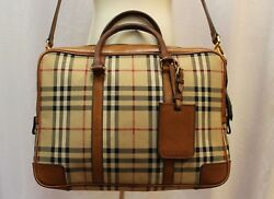 Burberry Horseferry Brown Nova Check Plaid Padded Lap Top Messenger Should