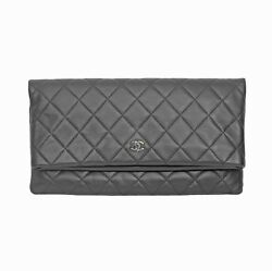 Authentic CHANEL Black Fold Over Caviar Clutch Bag Silver Hardware