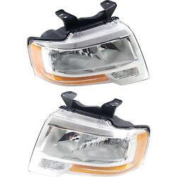 Headlight Set For 2015-2017 Ford Expedition Left And Right Reflector Type 2pc