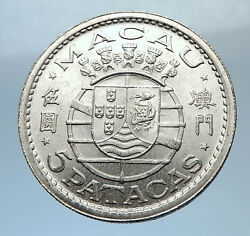 1952 Macau Under Portugal Silver 5 Patacas With Coat Of Arms Vintage Coin I71891