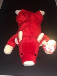 Ty Beanie Baby Snort The Bull 1995 Retired Rare Pvc Pellets Perfect Condition