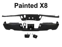 Painted Blk Rear Step Bumper Bar Pad License Light WO Sensor For 09-15 Ram 1500