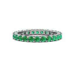 Emerald Common Prong Womens Eternity Ring Stackable 1.76 Ctw 14k Gold Jp19918