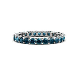 Blue Diamond Common Prong Eternity Ring Stackable 2.20 Ctw 14k Gold Jp143215