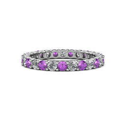 Amethyst And Diamond Womens Eternity Ring Stackable 1.98 Ctw 14k Gold Jp19843