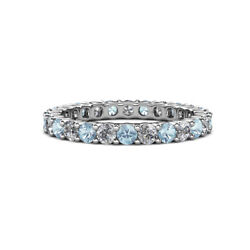 Aquamarine And Diamond Womens Eternity Ring Stackable 1.98 Ctw 14k Gold Jp19837