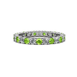 Peridot And Diamond Womens Eternity Ring Stackable 2.37 Ctw 14k Gold Jp19855