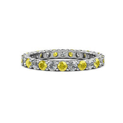 Yellow Sapphire And Diamond Eternity Ring Stackable 2.26 Ctw 14k Gold Jp19825
