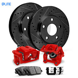 Front Eline Brake Red Calipers+Black DS Brake Rotors+Ceramic Brake Pads+HD