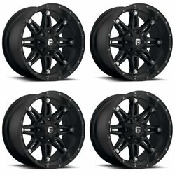Set 4 22 Fuel Hostage D531 Black Wheels 8x170 -44mm Lifted For Ford 8 Lug Truck