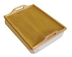 Sth Wooden Breakfast, Food, Serving Laptop Table Lap Tray With Cushion Bean Bag