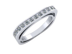 Natural 3.00 Ct Round Cut Diamond Euro Style Square Eternity Band Ring 18k Gold