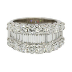 18K WHITE GOLD DIAMOND RING 16 ROUND DIAMONDS ~ 2.25 AND 18 BAGUETTE ~ 1.00 CTS