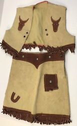 Vintage Western Suede Leather Skirt Vest Outfit For Young Girls 1950s