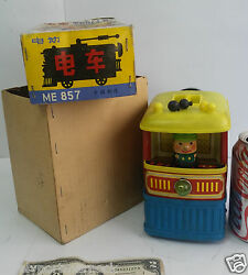 Vintage Rare Trolley Tramway Humoristique Tin Toy Me 857 China In Box For Parts