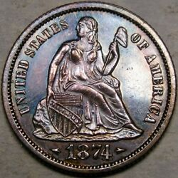 1874 Liberty Seated Silver Dime Gorgeous Deep Monster Toning Extremely Appealing