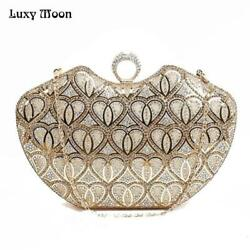 Luxy Moon Women Evening Bags New PU Leather Wedding Purse Heart Finger Ring Hand