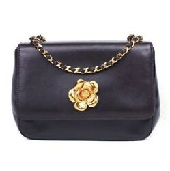 Chanel Rare Camellia Mini Crossbody Shoulder Bag - Black Leather Gold Flap