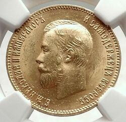 1903 Nicholas Ii Russian Czar 10 Roubles Antique Gold Coin Of Russia Ngc I74017