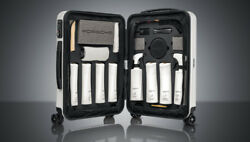 Porsche Tequipment New Car Care Set With Rimowa Pts Luggage Trolley Case - White