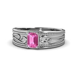 Emerald Cut Pink Sapphire Wide Band Promise Ring 0.90 Ct 14k Gold Jp165221