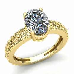 Genuine 0.75ct Oval Cut Diamond Ladies Bridal Solitaire Engagement Ring 14k Gold