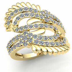 Natural 3ct Round Cut Diamond Womens Unique Fancy Cluster Twist Ring 14k Gold