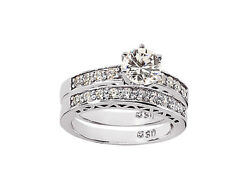 Natural 1.00ct Round Cut Diamond Engagement Ring Set Solid 18k Gold F Vs1