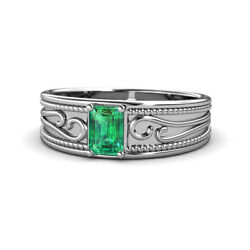 Emerald Cut Emerald Wide Band Promise Ring 0.80 Ct 925 Sterling Silver Jp165374