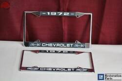1972 Chevy Chevrolet Gm Licensed Front Rear Chrome License Plate Holder Frames