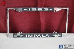 1963 Chevy Impala Gm Licensed Front Rear License Plate Holder Retainer Frame