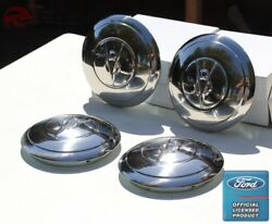 1935 Ford 4 Cylinder Car Pickup Truck Stainless Hub Caps Ford Script Set Of 4