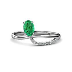 Oval Cut Emerald And Round Diamond Womens Promise Ring 0.87 Ctw 14k Gold Jp166552