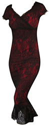 Switchblade Stiletto Womens Annabella Dress Small Red w Black Lace