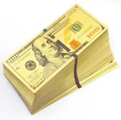 Wholesale 100 Pcs Gold Dollar 100 Paper Money Banknote Collection Craft Game
