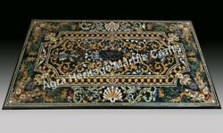 7'x4' Black Marble Pietra dura Dining Table Top Furniture Inlay Patio Decor