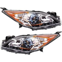 Headlight Set For 2012-2013 Mazda 3 And 3 Sport Left And Right With Bulb 2pc