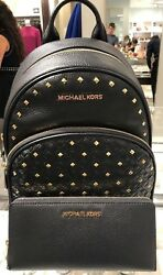 MICHAEL KORS ABBEY MEDIUM BLACK STUDDED LEATHER BACKPACK OR CONTINENTAL WALLET